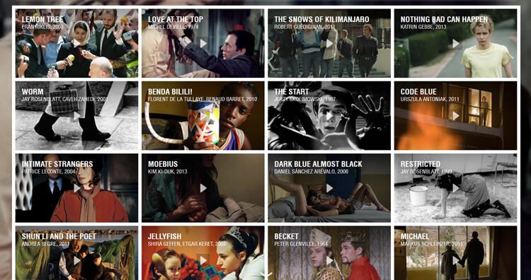 Filmauswahl bei Mubi (Beispiel)