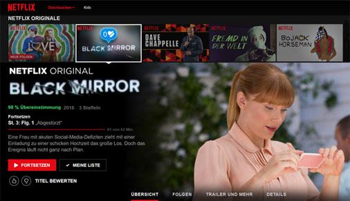 Netflix Browseroberfläche