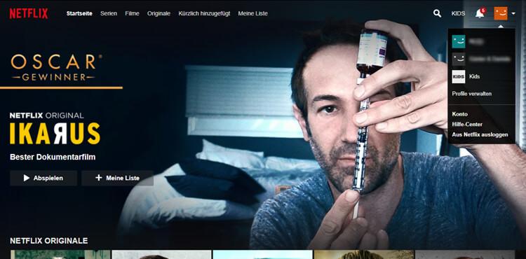 Netflix kündigen: oben rechts in den Netflix-Account einloggen