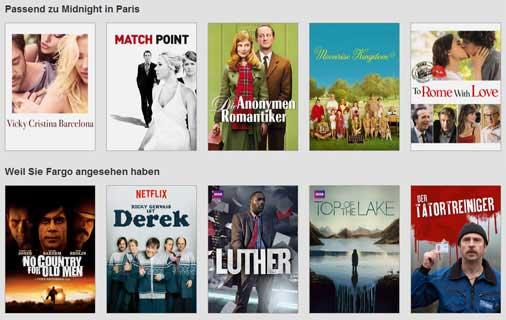 Video-Vorschläge bei Netflix