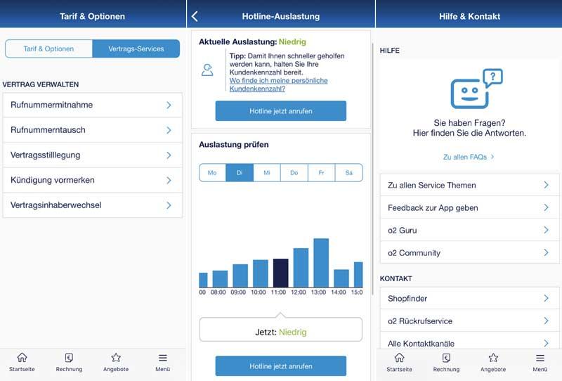 Menüs und Funktionen der Mein o2 Service App