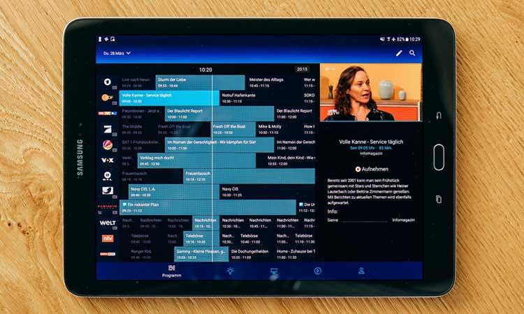 Programmguide der o2 TV App