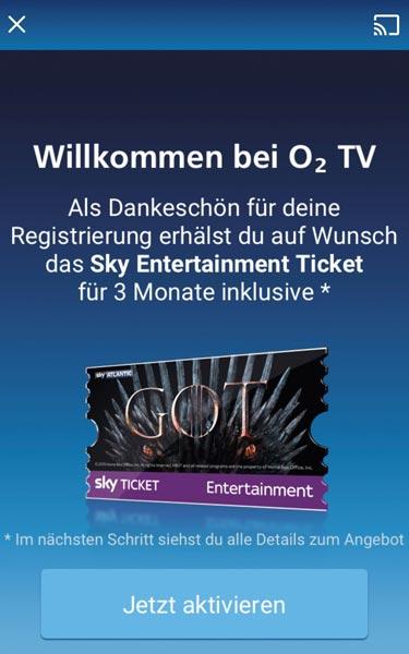 o2 TV - Sky Ticket Aktion