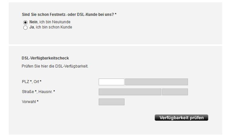Osnatel DSL Verfügbarkeits-Prüfung: Eingabemaske mit Adressfeldern