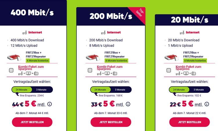 400, 200 oder 20 Mbit/s - welcher PYUR Tarif soll's sein?