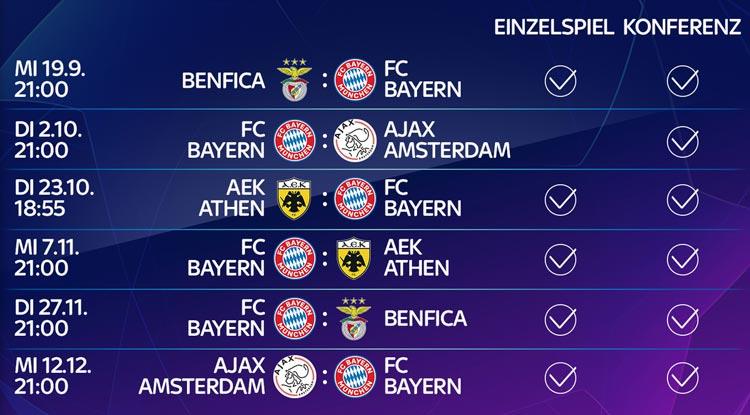 Champions League 2018/19 - diese Bayern Spiele gibt es live bei Sky zu sehen