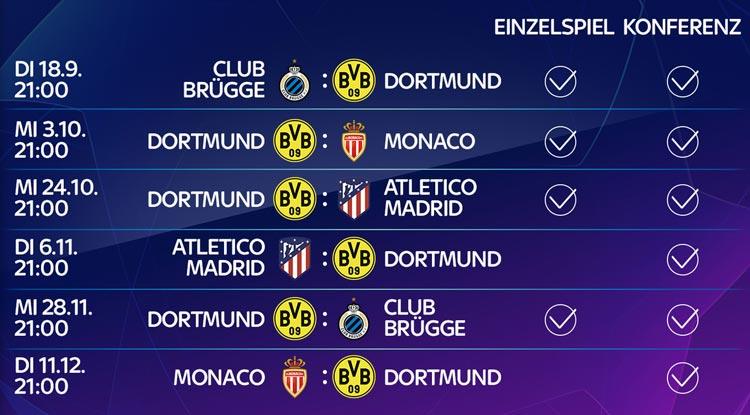 Champions League 2018/19 - diese Dortmund Spiele gibt es live bei Sky zu sehen