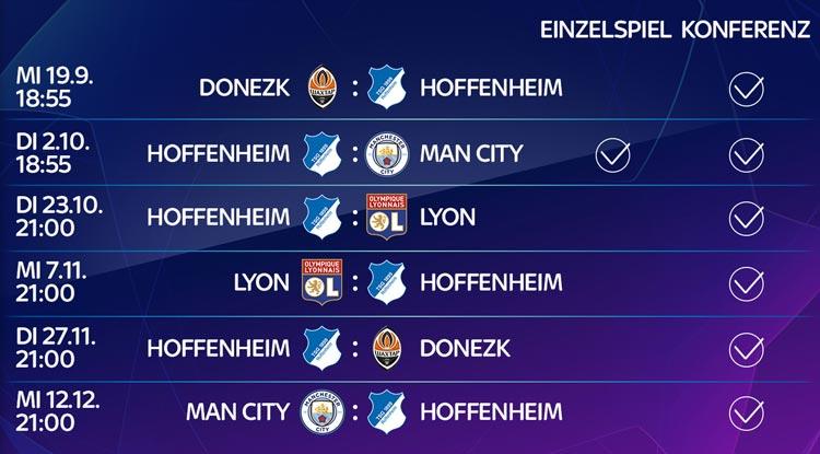 Champions League 2018/19 - dieses Hoffenheim Spiel gibt es live bei Sky zu sehen