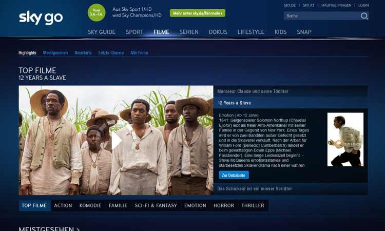 Screenshot Programmauswahl bei Sky Go