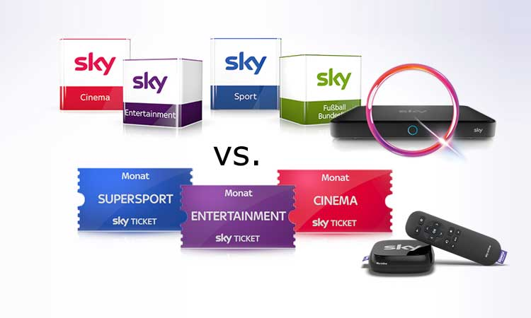 Sky Abo und Sky Ticket im Vergleich
