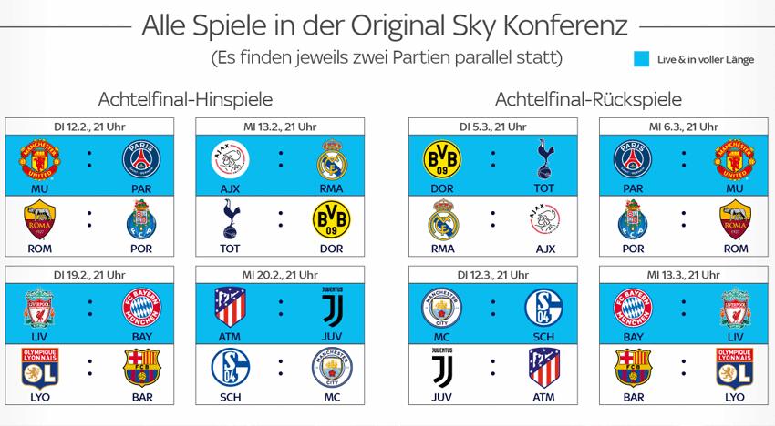 Sky Champions League Achtelfinale live