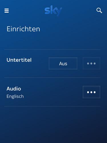 Sky App Sprache und Untertitel wählen