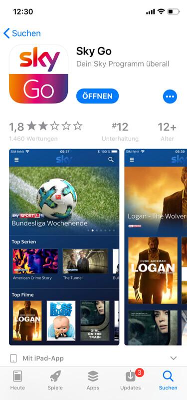 Sky Go im App-Store