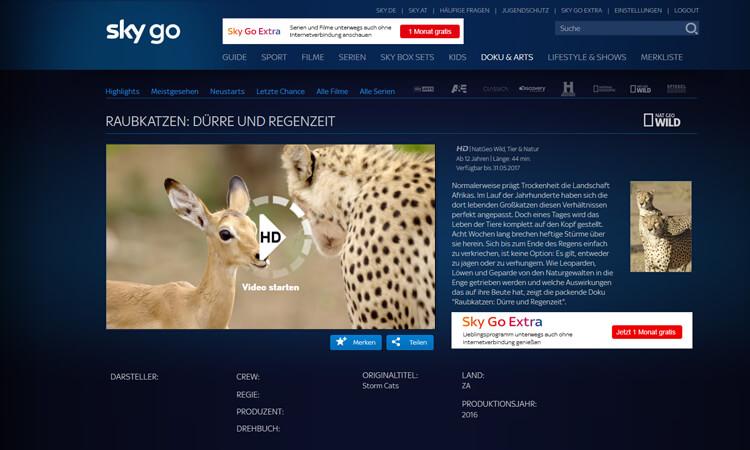 Sky Go: Video starten