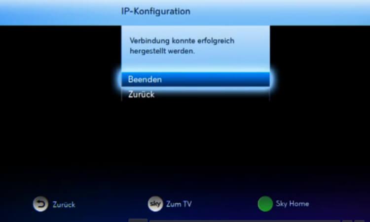 Sky: Internetverbindung des Receivers hergestellt