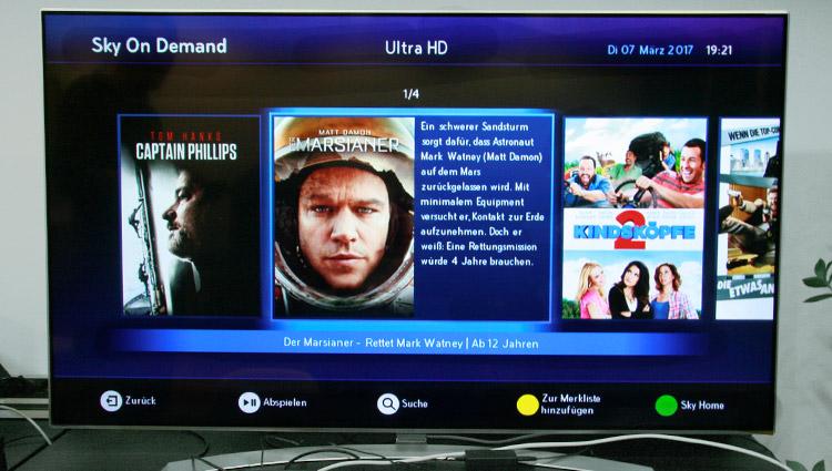 Auswahl von Ultra HD Filmen bei Sky on Demand