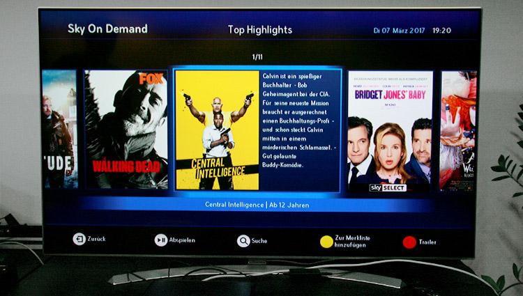 Menü von Sky on Demand mit den Top-Highlights