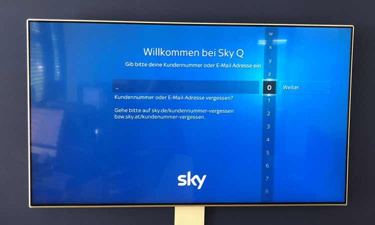 Sky Q App installieren: Zugangsdaten eingeben