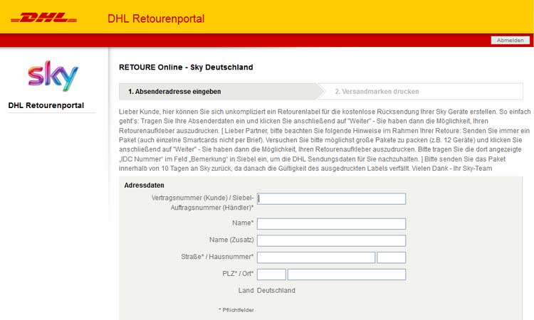 retourenschein fr sky receiver screenshot - Kabel Deutschland Kundigung Muster
