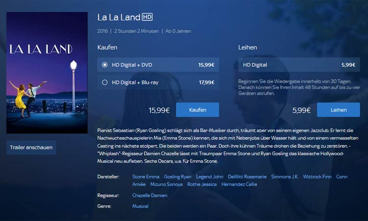 Screenshot Sky Store: Einzelansicht Film