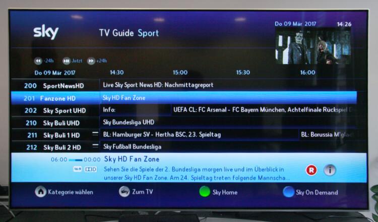 Sky Test - Übersicht Sky Programm über den EPG
