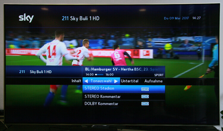 Sky Test - Tonauswahl Kommentar Stadion