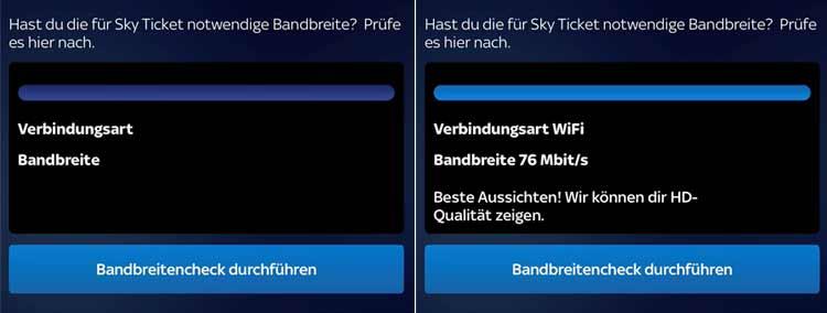 Bandbreitencheck in der Sky Ticket App