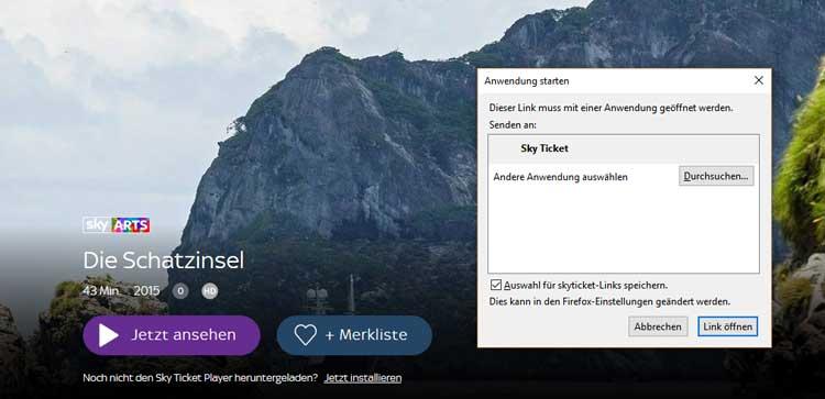 Sky Ticket auf dem Desktop-PC installieren