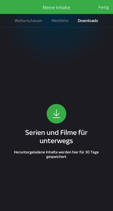 """Sky Ticket: Downloads finden sich unter """"Meine Inhalte"""""""