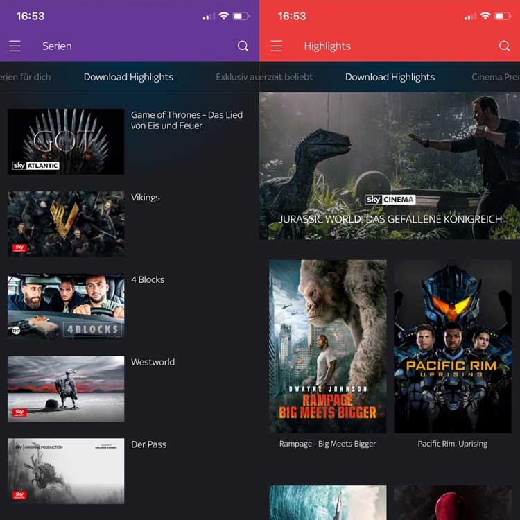 Sky Ticket: Download-Highlights für Entertainment und Cinema
