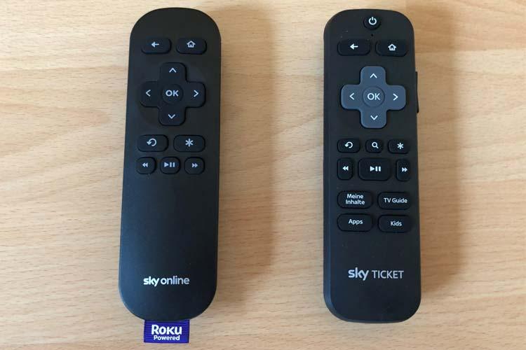 Fernbedienung von Sky TV Box (links) und Sky Ticket TV Stick (rechts)