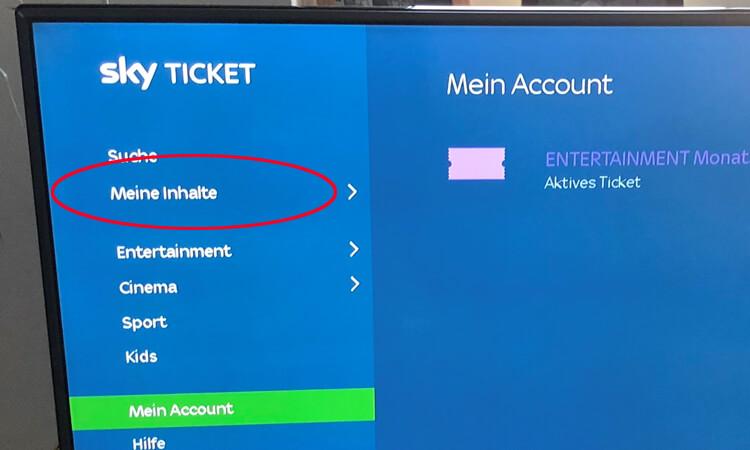 Sky Ticket Merkliste: Meine Inhalte