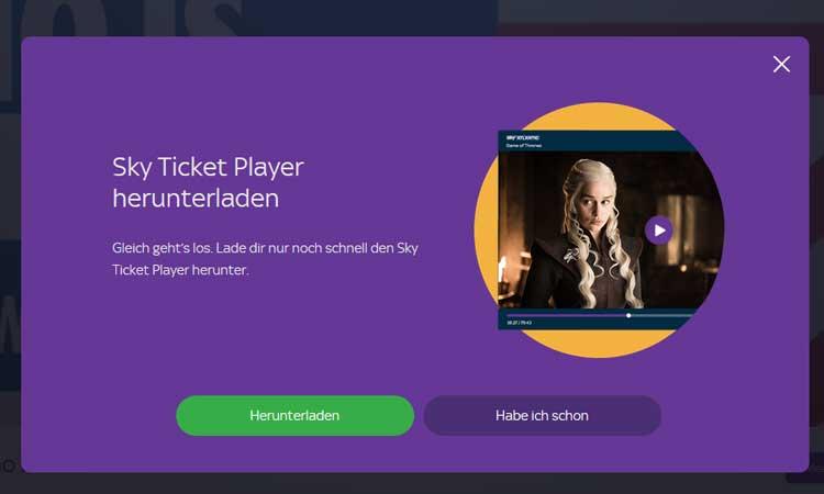 Sky Ticket Player installieren