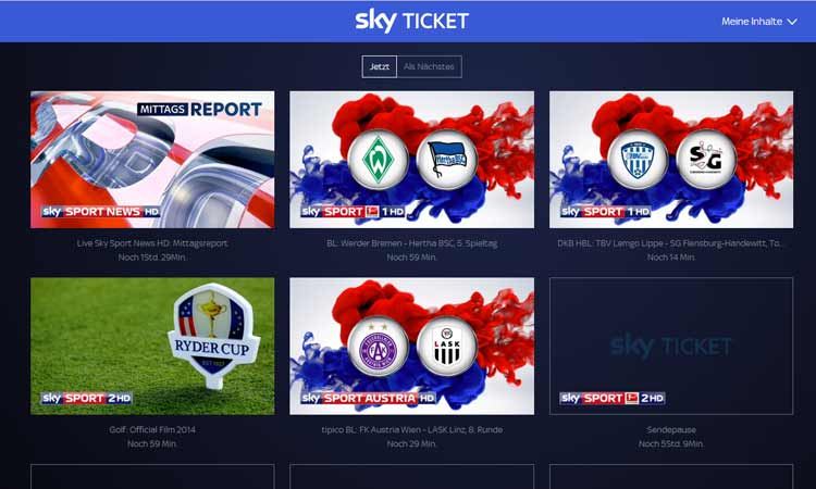 Sky Ticket im Browser