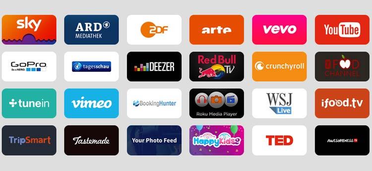 verfügbare Apps für die Sky TV Box