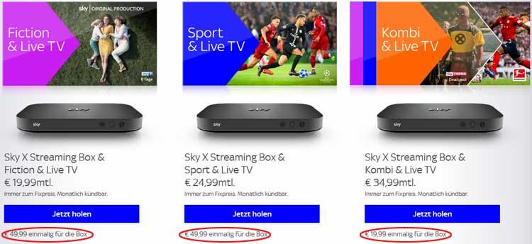 Sky X Streaming-Box Preise