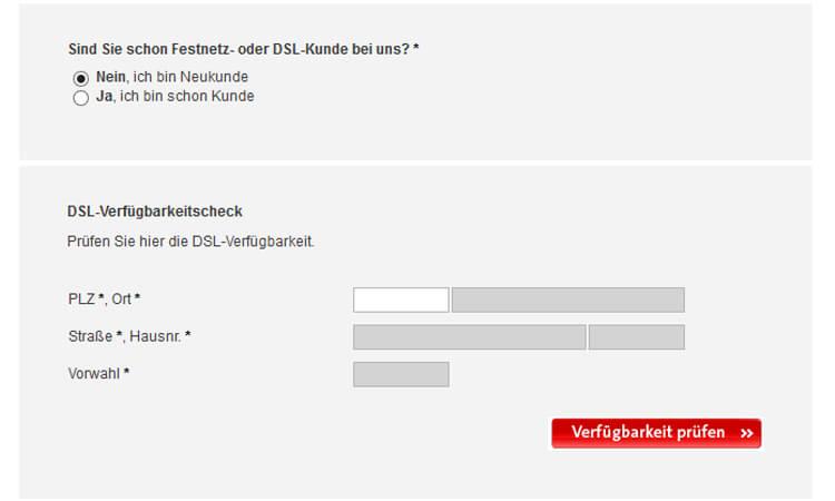 SWB DSL Verfügbarkeits-Prüfung: Eingabemaske mit Adressfeldern