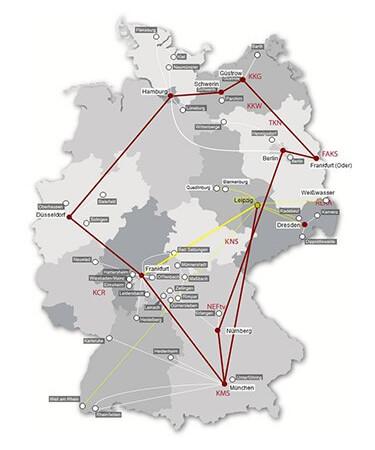 Karte des Cablesurf Glasfasernetzes