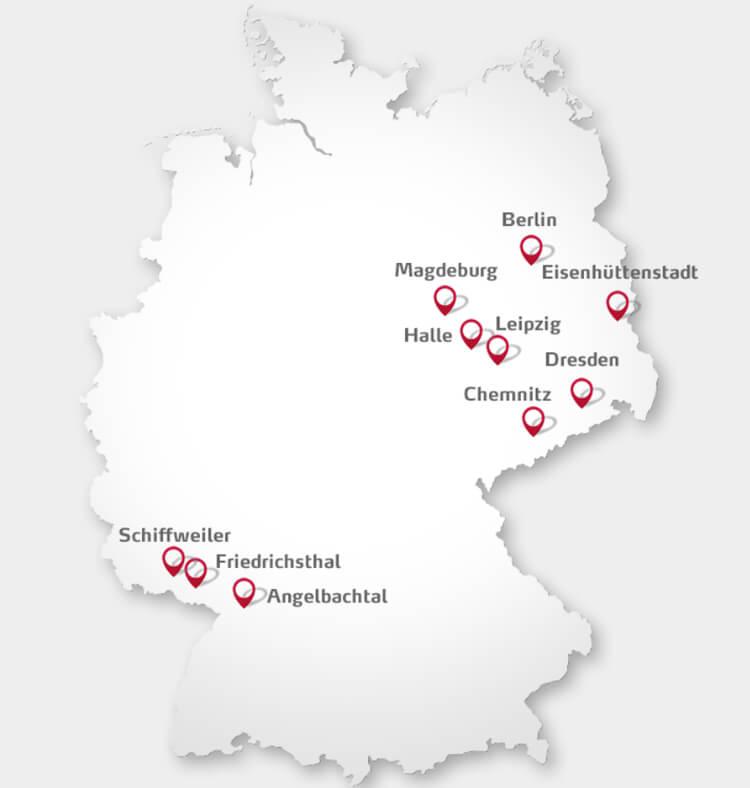 Karte des Primacom Versorgungsgebiets