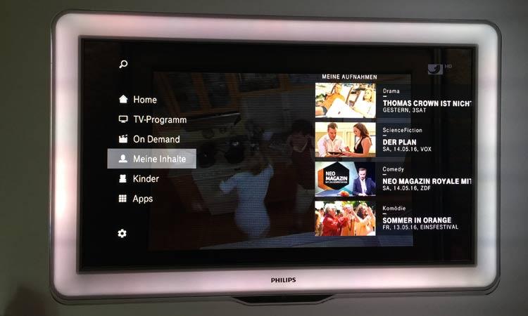 EntertainTV Funktionen - eigene Inhalte in der Übersicht