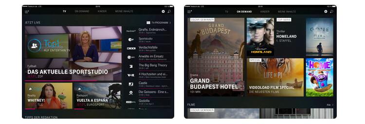 EntertainTV Mobil auf dem iPad