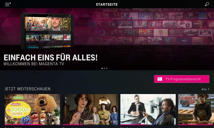 Magenta TV App - Startseite
