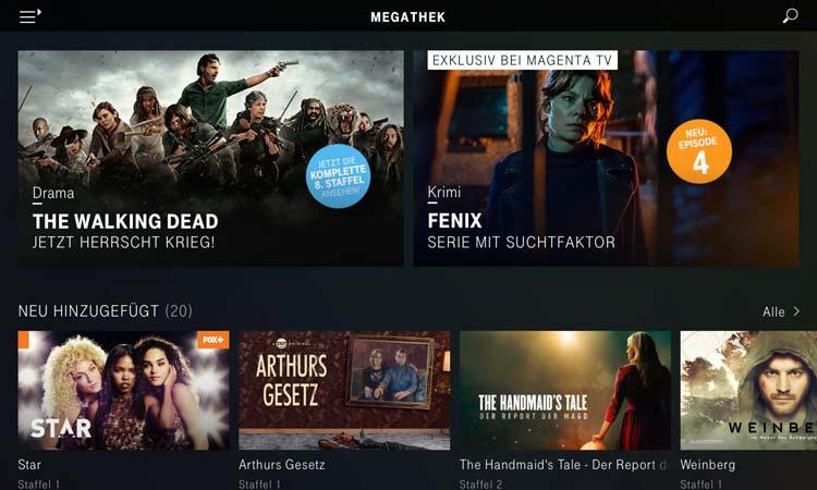 Magenta TV App - Megathek Übersicht