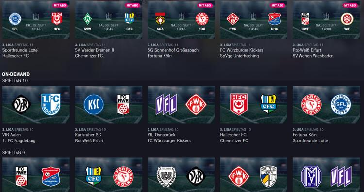 Auswahl an Spielen aus der 3. Liga Telekom Fußball