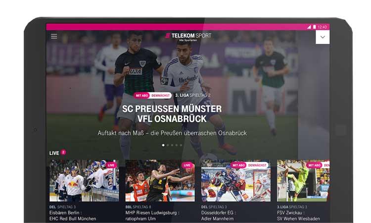Telekom Sport auf dem Tablet