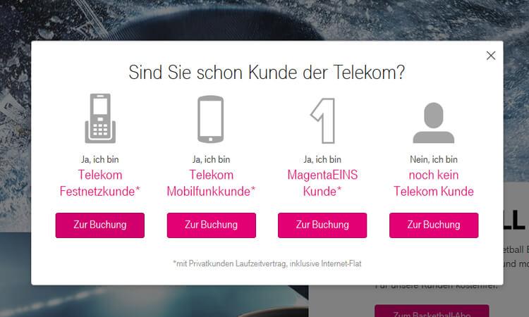 Telekom Sport Kundenstatus auswählen