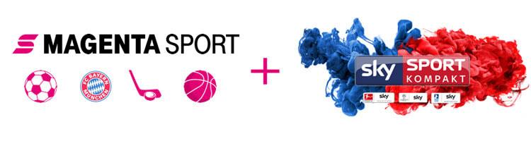 Logos: Telekom Sport und Sky Sport Kompakt