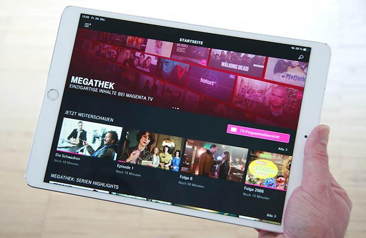 Magenta TV App auf dem Tablet
