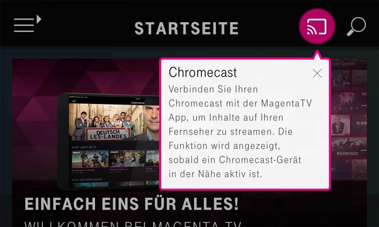 Screenshot: Cast-Symbol in Magenta TV App