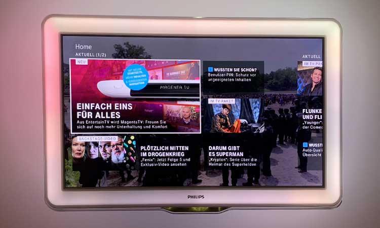 Magenta TV Test: Startbildschirm
